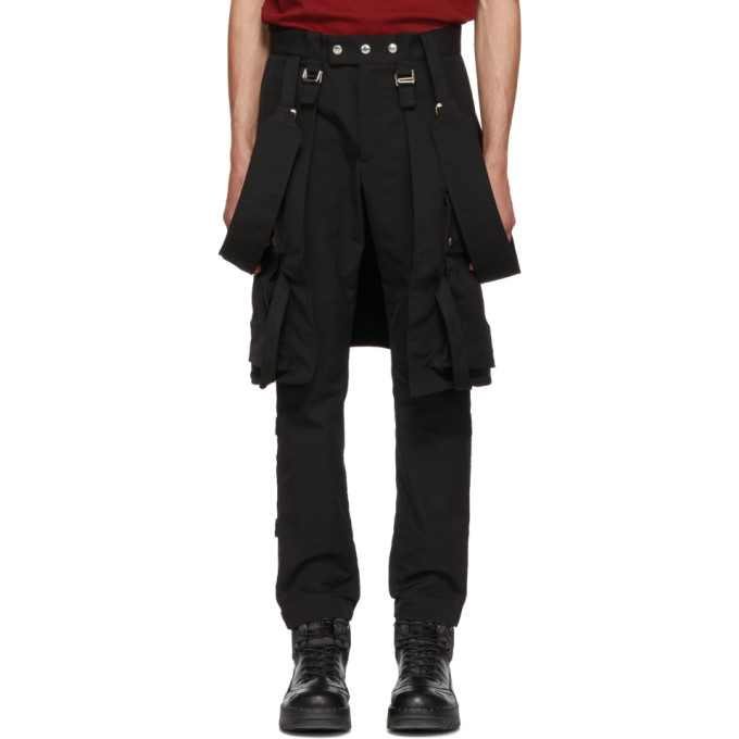 Image of ALMOSTBLACK Black Utility Trousers With Straps
