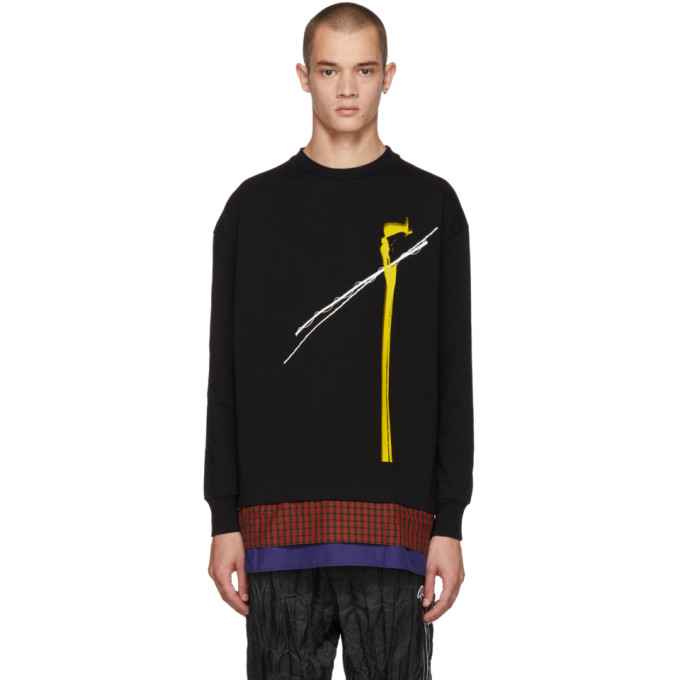 Image of ALMOSTBLACK Black Long Sleeve Lines Top