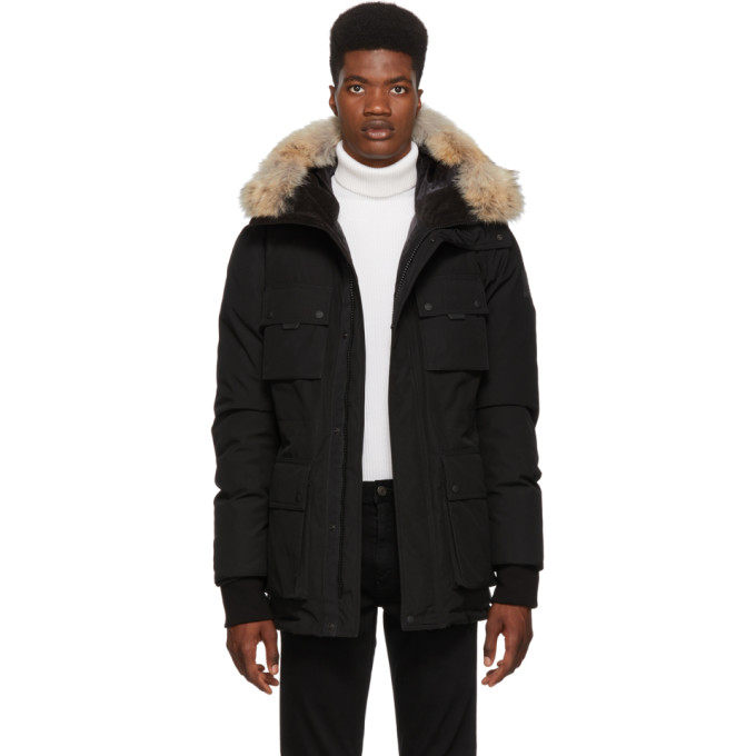 Image of Belstaff Black Down Expedition Coat