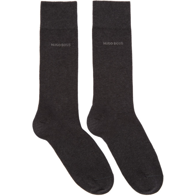 Boss Two Pack Grey Block Stripe Socks