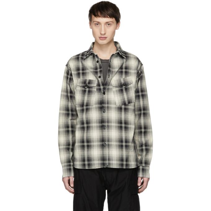 BILLY Billy Black And Off-White Plaid Slant Pocket Shirt in B/W Plaid