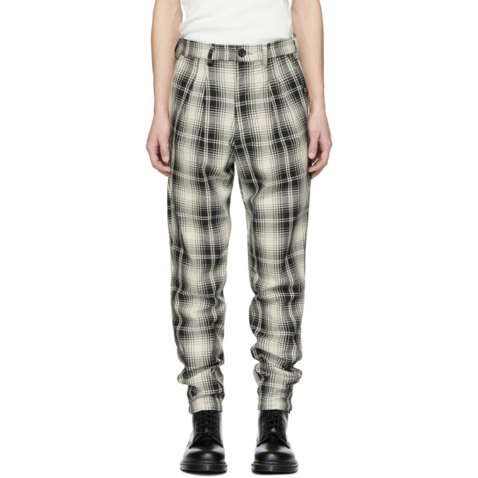 BILLY Black & Off-White Plaid Double Pleated Trousers in B/W Plaid