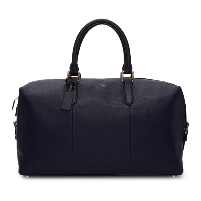 Smythson Navy Burlington Duffle Bag