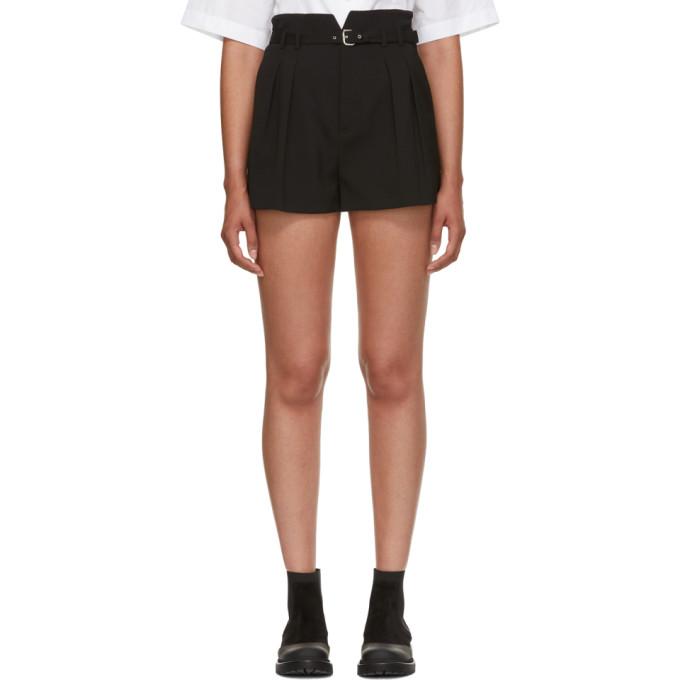 RED Valentino Black High-Waist Buckle Shorts