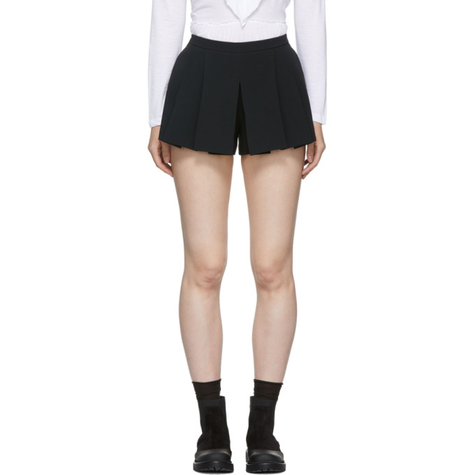 RED Valentino Black Pleated Stretch Frisottine Shorts