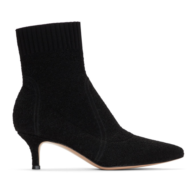 Gianvito Rossi Black Boucl� Kitten Heels