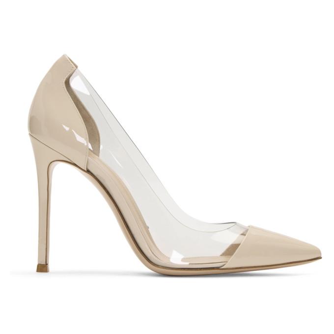 Gianvito Rossi Off-White Patent & PVC Plexi Heels