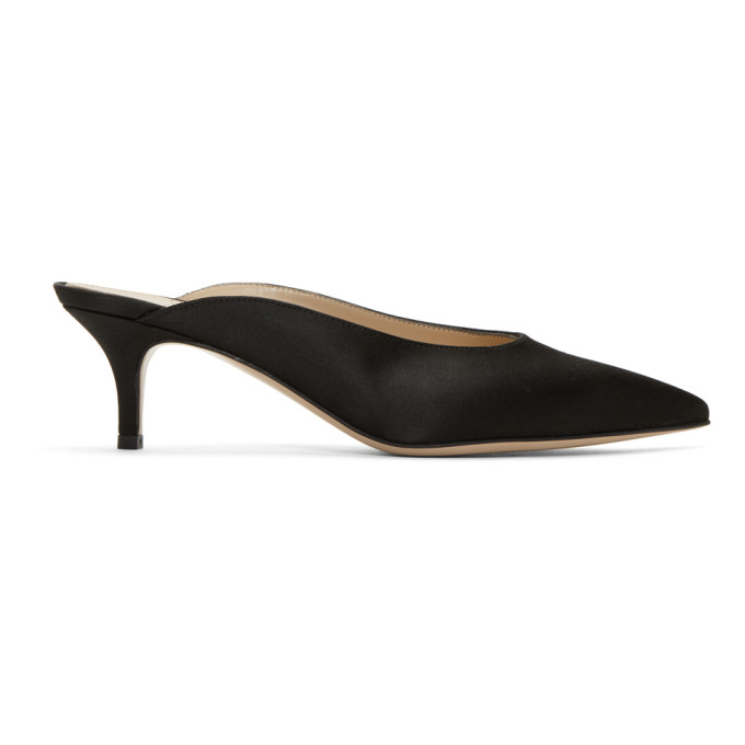 Gianvito Rossi Black Satin Paige Kitten Mules