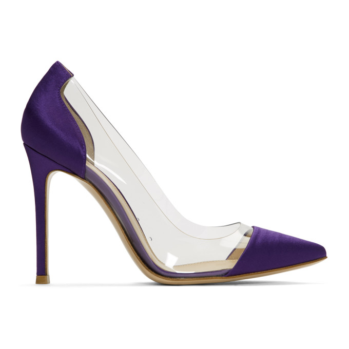 Gianvito Rossi Purple Satin & PVC Plexi Heels