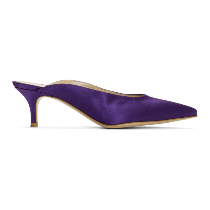Gianvito Rossi Purple Satin Paige Kitten Mules