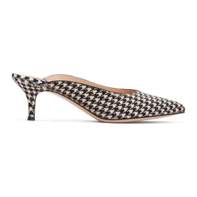 Gianvito Rossi Black & White Calf-Hair Houndstooth Kitten Mules