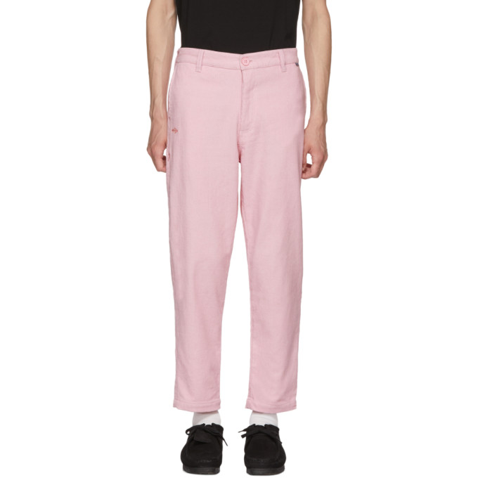 Image of Dickies Construct Pink Corduroy Straight Slim Trousers