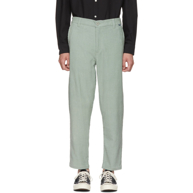 Image of Dickies Construct Green Corduroy Straight Slim Trousers