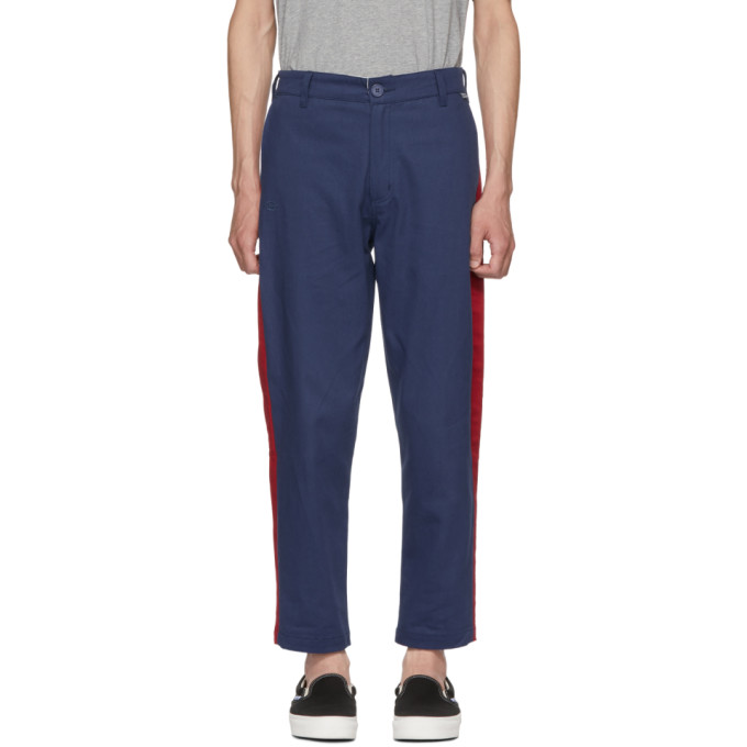 Image of Dickies Construct Blue Slim Stripe Trousers
