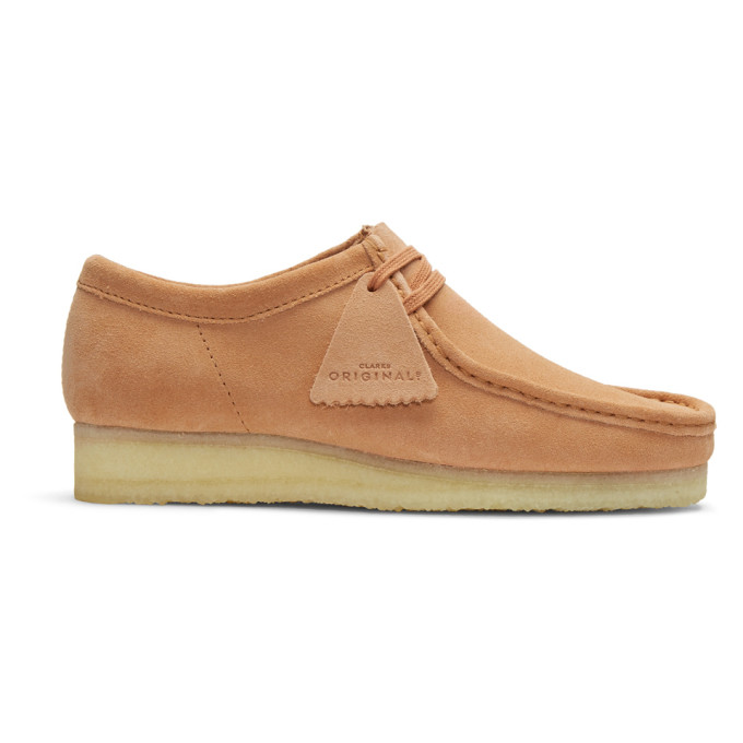 Image of Clarks Originals Pink Suede Wallabee Moccasins