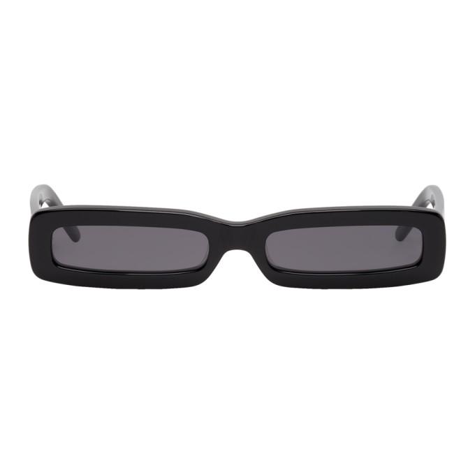 George Keburia Black Long Rectangular Sunglasses