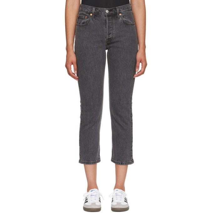Levis Grey 501 Cropped Jeans