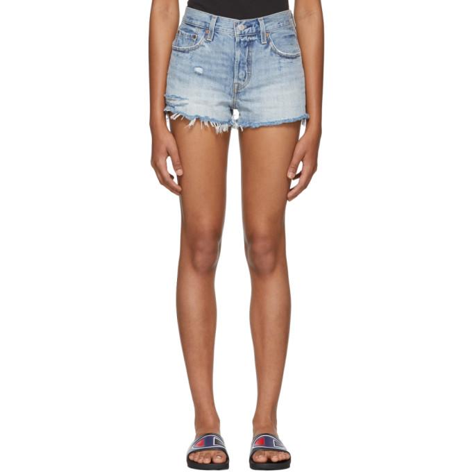 5929ce57 Levis Blue Distressed 501 Denim Shorts