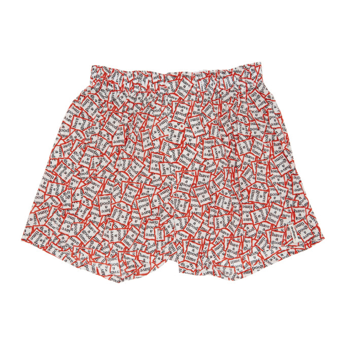 Image of Druthers Red & White 'Have A Good Time' Boxers