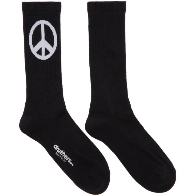 DRUTHERS Druthers Black Everyday Peace Crew Socks