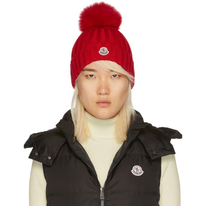 9edd5299bc6bb Moncler Red Fur Pom Pom Beanie