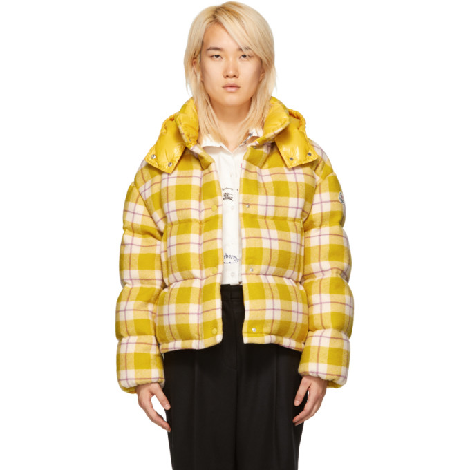 Caille Plaid Puffer Coat W/ Removable Hood in 103 Yellow