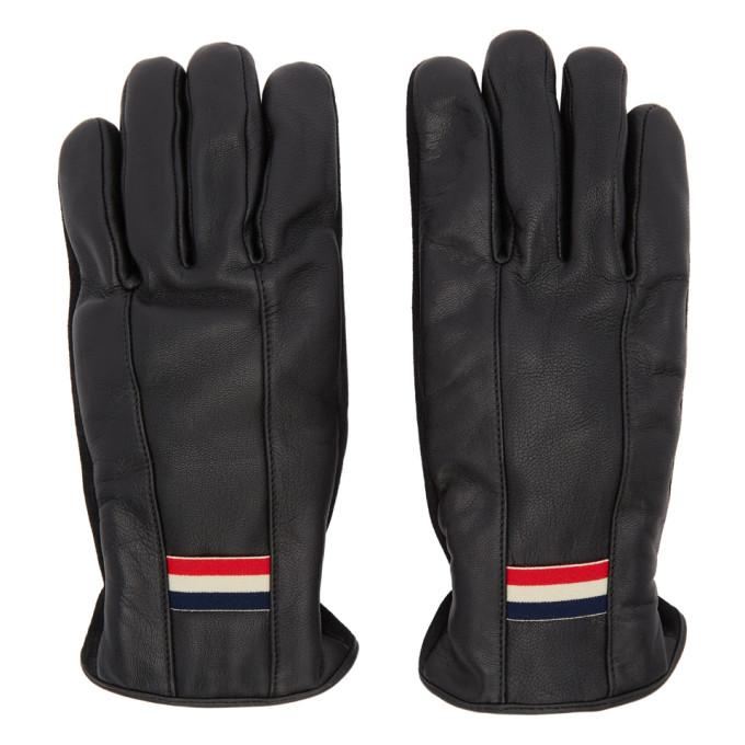 Moncler Black Leather Guanti Gloves