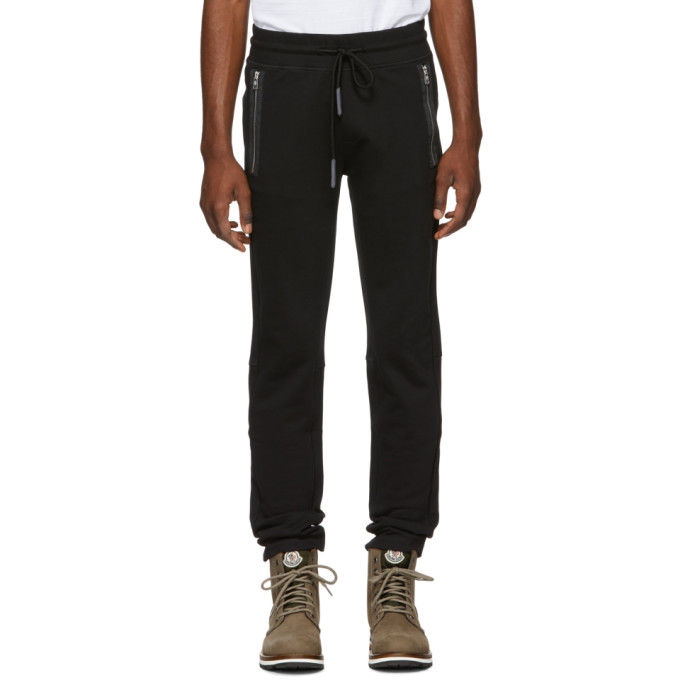 MONCLER BLACK ZIP POCKET LOUNGE PANTS