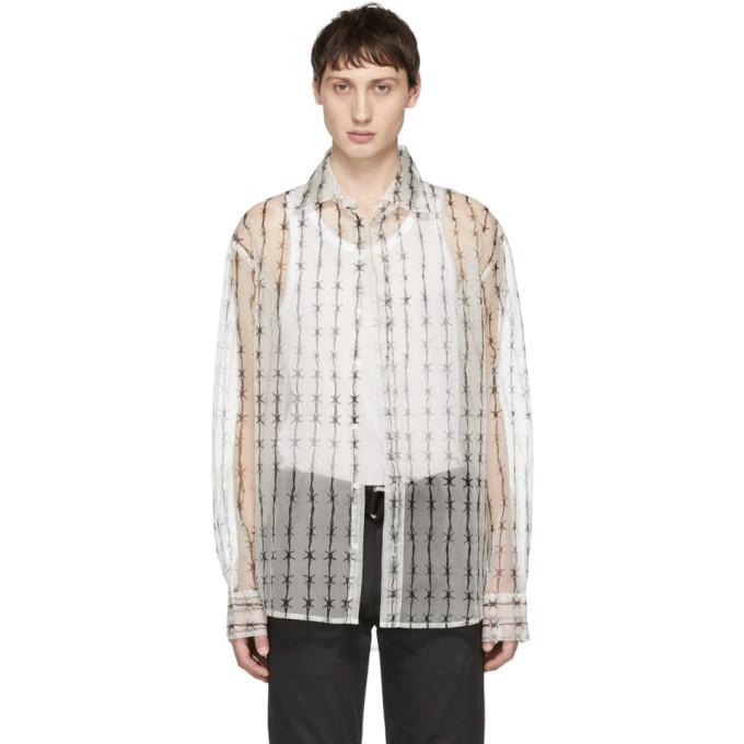 WARREN LOTAS Warren Lotas White Organza Barbed-Wire Shirt in Cream