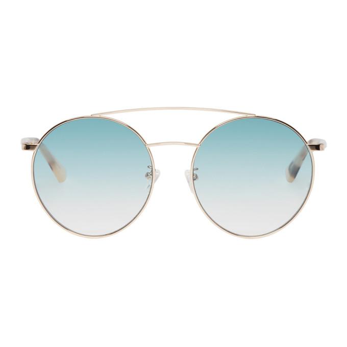 McQ Alexander McQueen Gold & Blue Gravity Bar Sunglasses