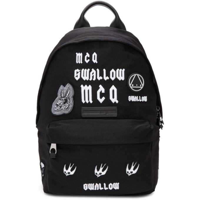 McQ Alexander McQueen Black 'Swallow' Classic Backpack