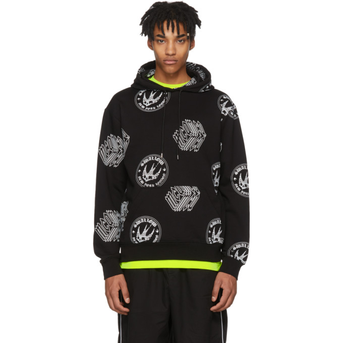 Image of McQ Alexander McQueen Black All Over Logo Big Hoodie