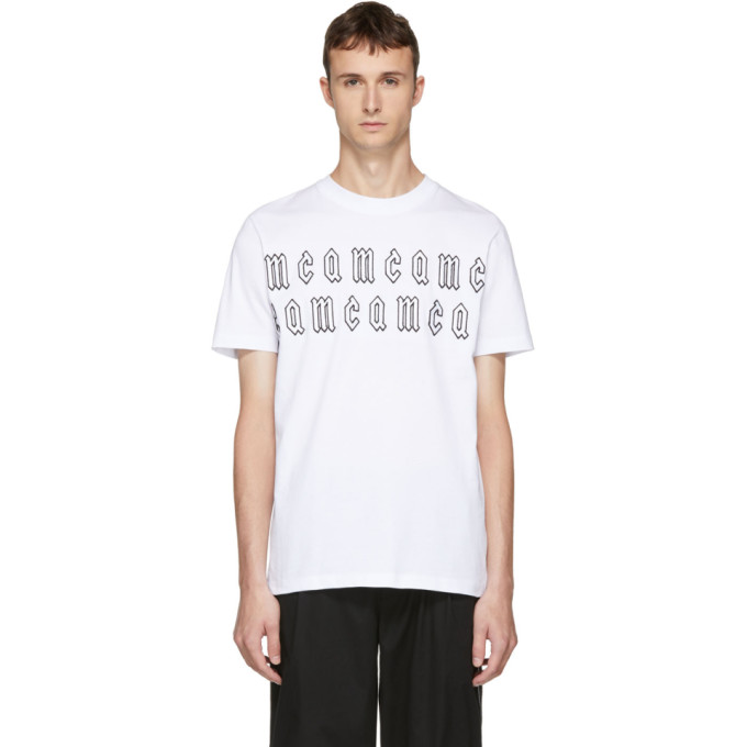 McQ Alexander McQueen ホワイト ゴシック リピート ロゴ T シャツ