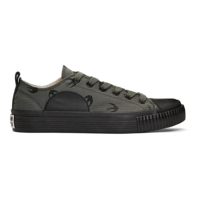 McQ Alexander McQueen Grey & Black Swallows Plimsoll Sneakers