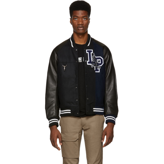 Reese Cooper REESE COOPER BLACK AND NAVY SPLIT VARSITY BOMBER JACKET