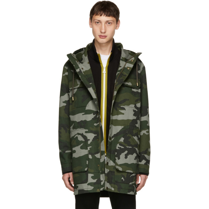 Image of Tiger of Sweden Green Camouflage Emmanuel Coat