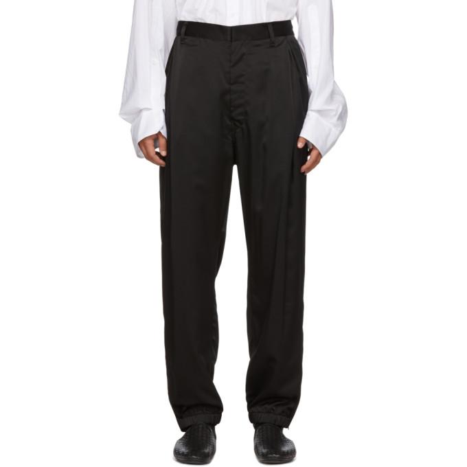 BED J.W. FORD Pantalon de survetement en satin noir
