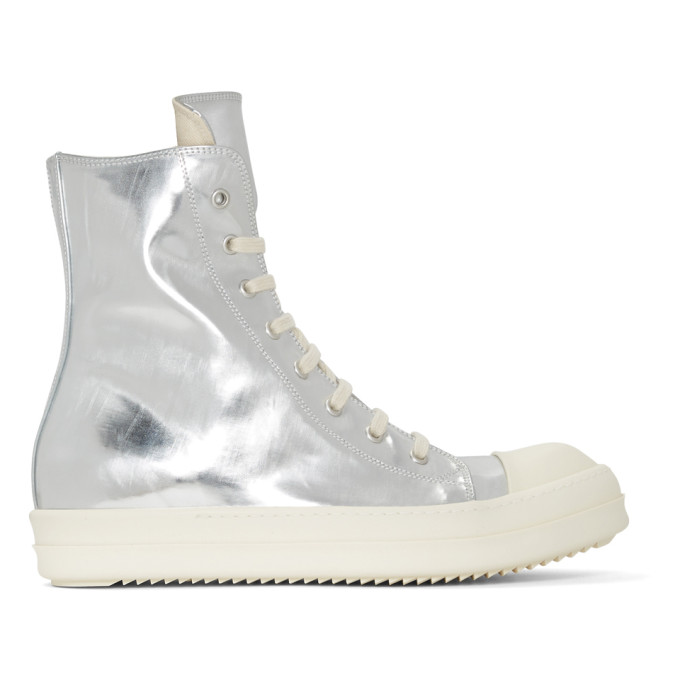 Rick Owens Drkshdw Silver Shiny High-Top Sneakers