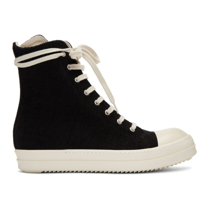 Rick Owens Drkshdw Black Stretch Velour Sneakers