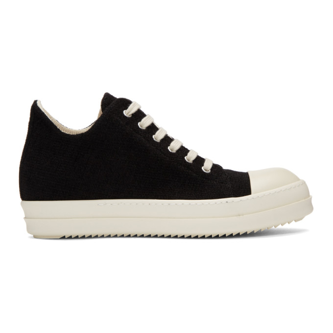 Rick Owens Drkshdw Black Stretch Velour Low Sneakers