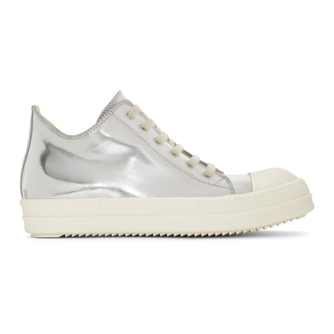 Rick Owens Drkshdw Silver Metallic Low Sneakers