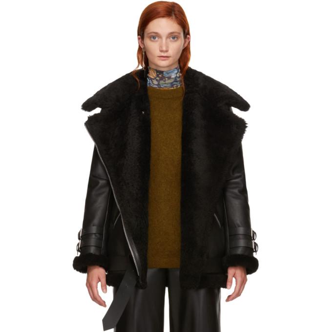 Acne Studios Black Leather Shearling Vélocité Jacket