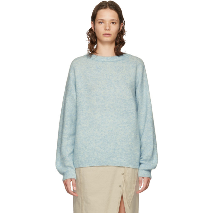 Dramatic Wool And Mohair Sweater in Dusty Blue