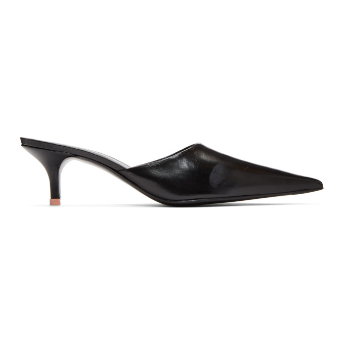 Acne Studios Black Offset Kitten Heel Mules