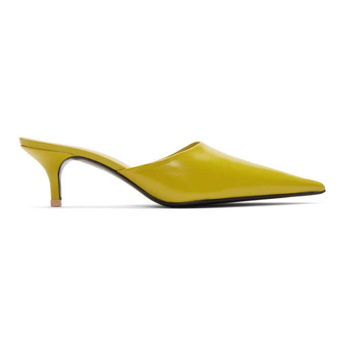 Acne Studios Yellow Offset Kitten Heel Mules