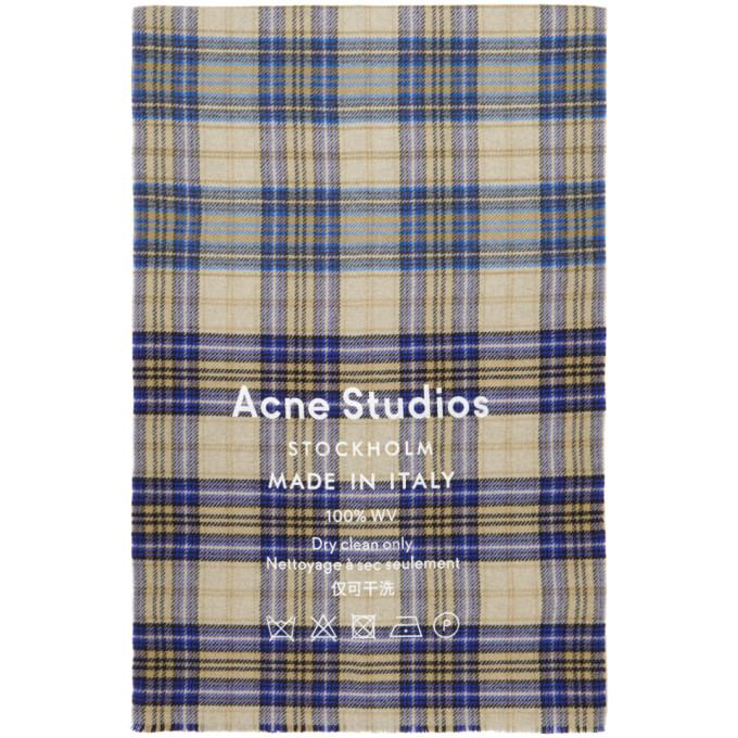 Acne Studios ブラウン Cassiar チェック マフラー