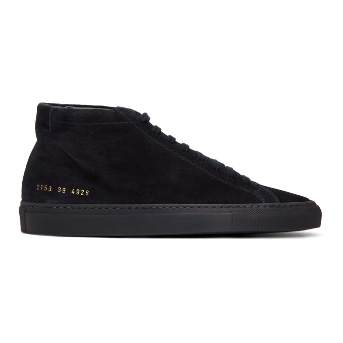 Common Projects Navy Suede Original Achilles Mid Sneakers