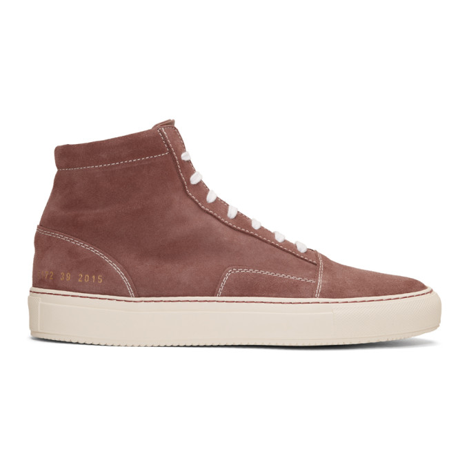 Common Projects Pink Suede Skate Mid Sneakers
