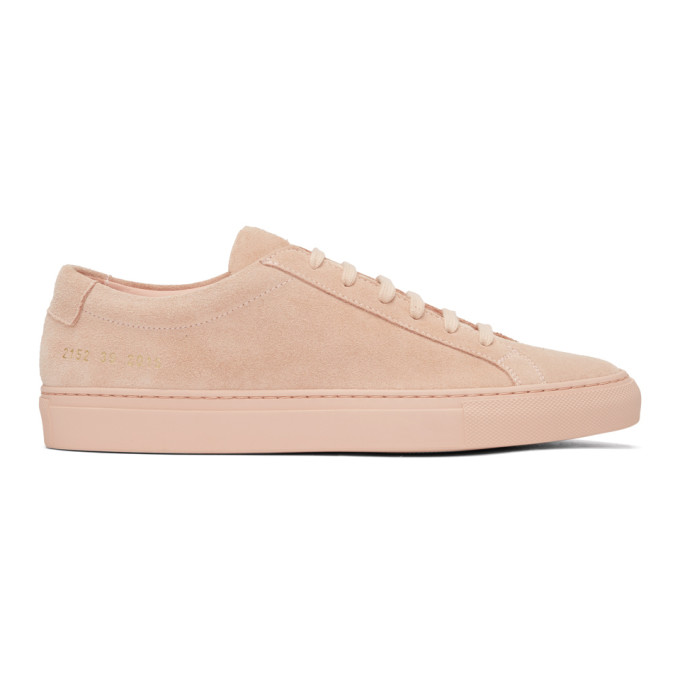 Common Projects Pink Suede Original Achilles Low Sneakers