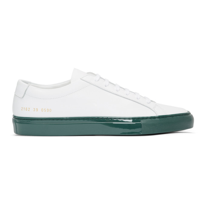 Common Projects White & Green Shiny Sole Achilles Low Sneakers